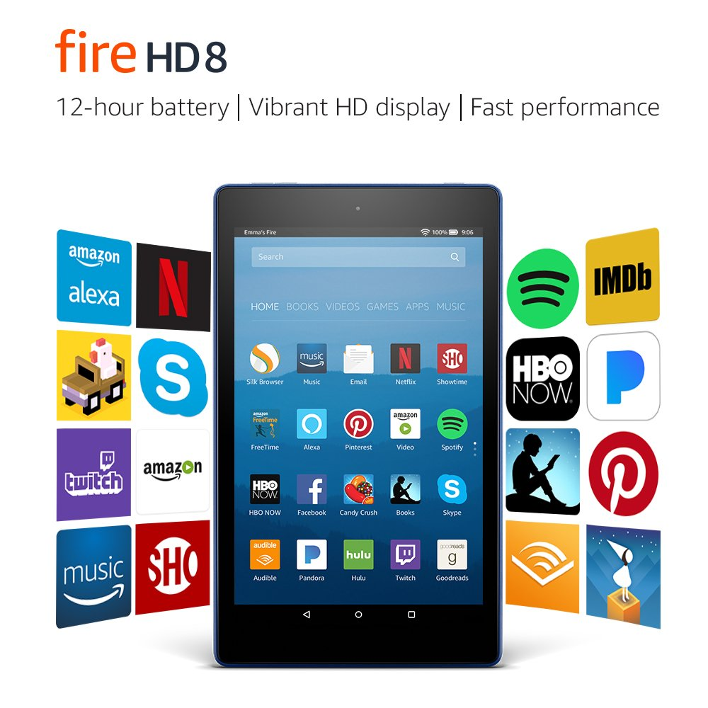 Fire HD 8 Tablet with Alexa, 8' HD Display, 16 GB, Marine Blue - with Special Offers