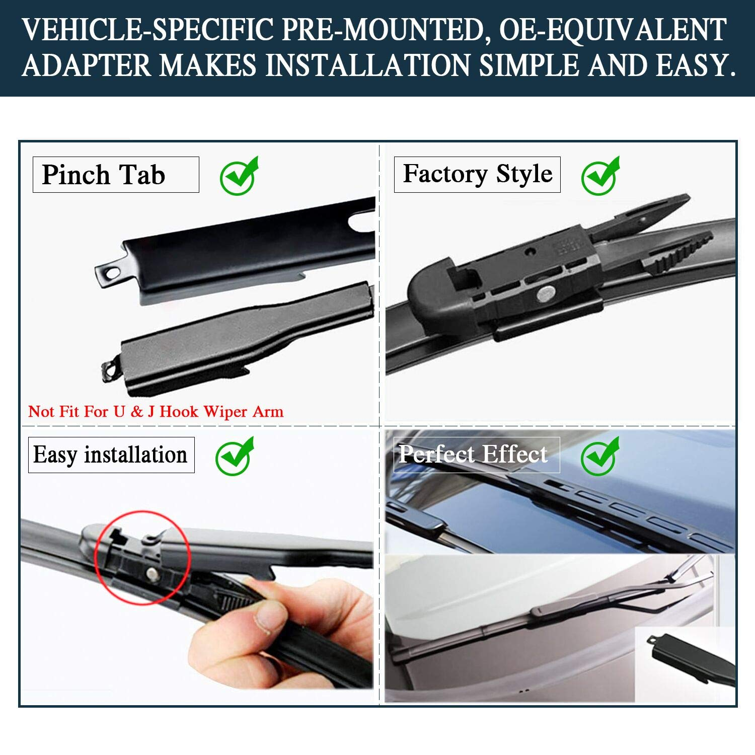 Windshield Wiper Blades Original Equipment Replacement Set of 2 2 wipers Replacement for 2007-2018 Toyota Tundra//2008-2018 Toyota Sequoia Pinch Tab 26//23