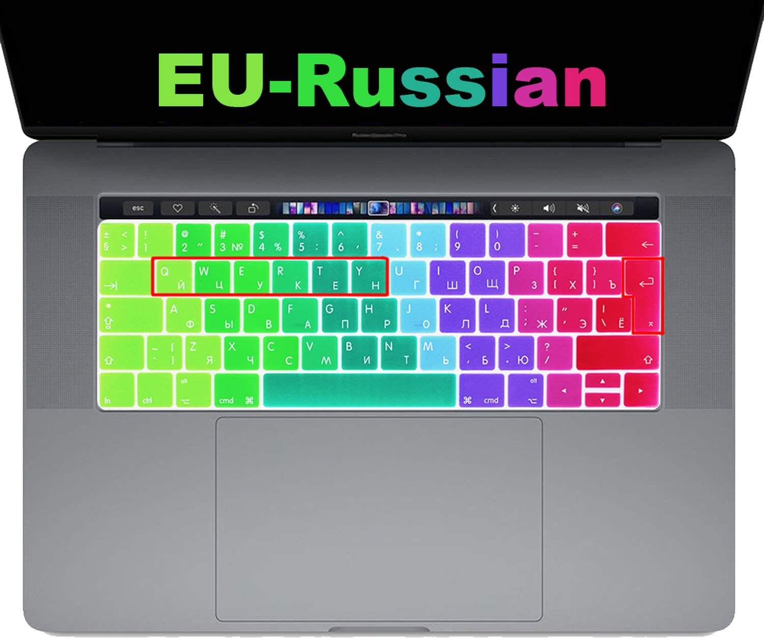 EU Enter Russian Keyboard Cover Protector for New MacBook Pro 13 15 with Touch Bar Model A1706//A1989 A1707//A1990,Gradient Red