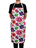 """Kitchen Chef Apron with Pocket for Women (32.5 x 33.2"""") Adjustable 100% Pure Cotton Multicolor Floral Design Basic Everyday Use Machine Washable"""