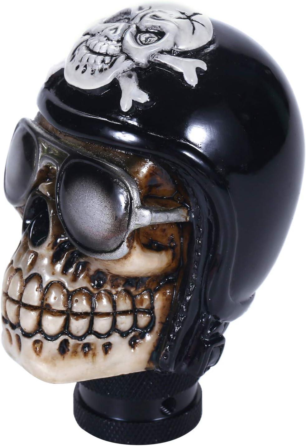 Bashineng Pirate Stick Shifter Knob Skull Shape Universal Gear Shift Head Fit Most Manual Cars Black