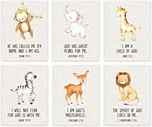 Andaz Press Christian Bible Verses Quotes Nursery Kids Room Unframed Hanging Wall Art Poster Home Decor, 8.5x11-inch, Jungle Safari Animals Theme, Burlap, 6-Pack, No Frames