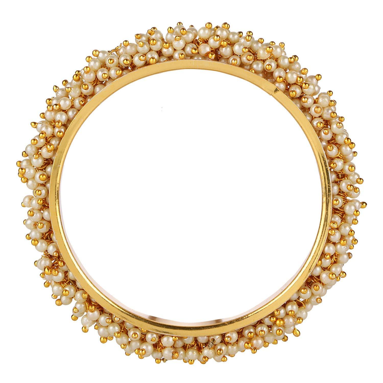 Efulgenz Fashion Jewelry Indian Bollywood 14 K Gold Plated Faux Pearl Bracelets Bangle Set (2 Pieces) for Women by Efulgenz (Image #3)