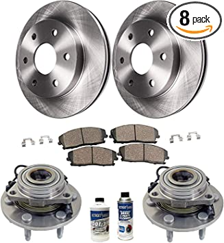 Front 355 mm And Rear 360 mm Brake Rotors /& Ceramic Pads For Chevy GMC Sierra