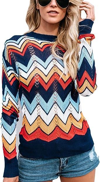 Minetom Mujer Suéter Moda Casual Jersey Prendas de Punto Mangas Largas Multicolor Raya Camiseta Jumper Tops Otoño Invierno Cuello Redondo Pullover