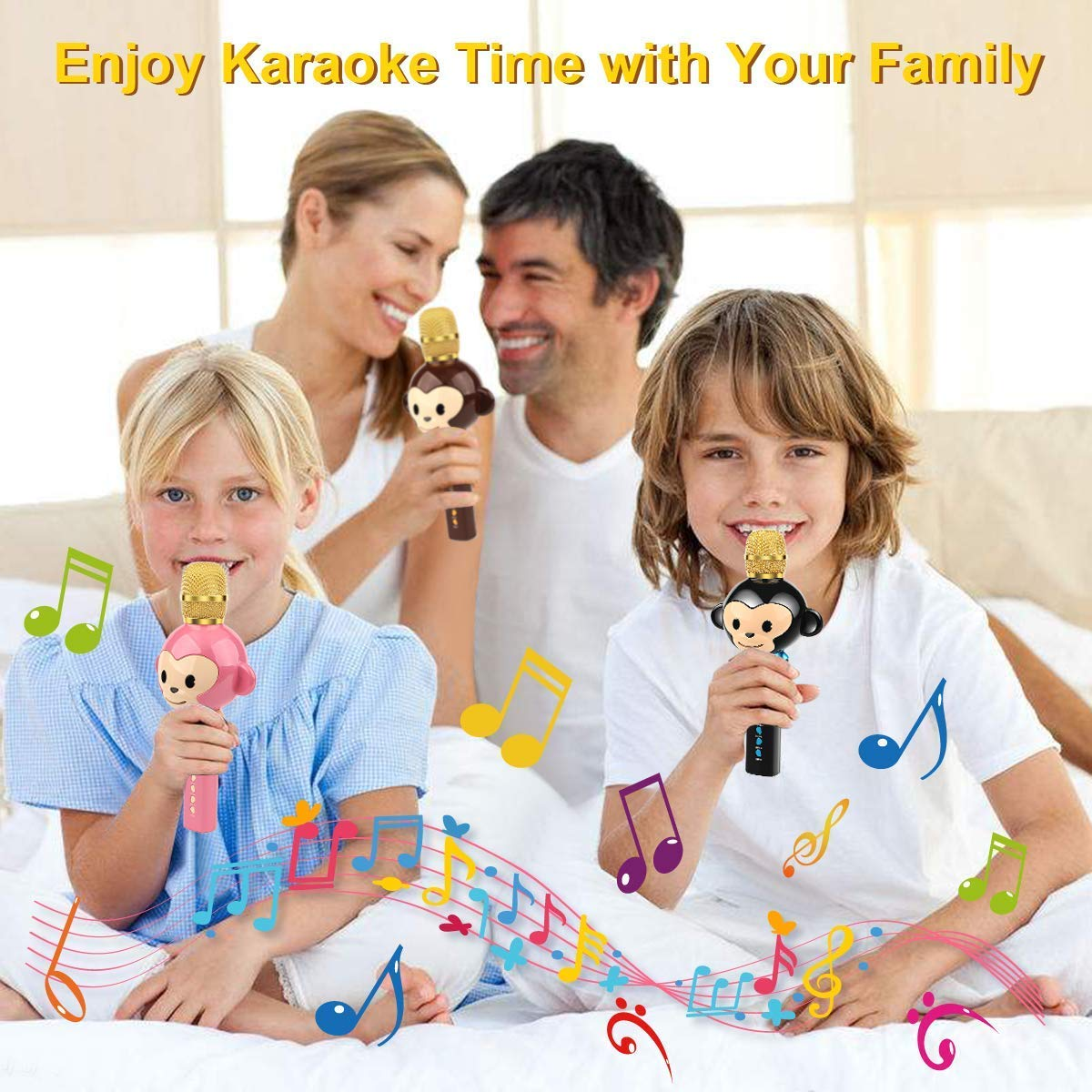LingHui Kids Microphone Wireless Bluetooth Karaoke Microphone , 3-in-1 Portable Handheld Karaoke Mic Home Party Birthday Speaker Machine for iPhone/Android/iPad/Sony,PC and All Smartphone (Pink) by LingHui (Image #6)