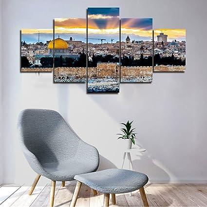 Amazon.com: Islamic Wall Art 5 Panel Large Jerusalem Pictures Home ...