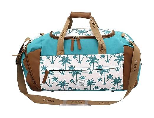 F23, Urban Survival Reisetasche, BxTxH: 56x27x29 cm, Inkl. 2 Seitentaschen + Frontfach, 44 Liter, Palm, Weiß/Türkis, 30023-7