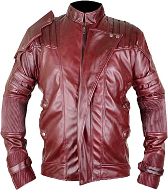 Guardians of The Galaxy 2 Star-Lord Maroon Faux Leather Jacket XXS to 3XL