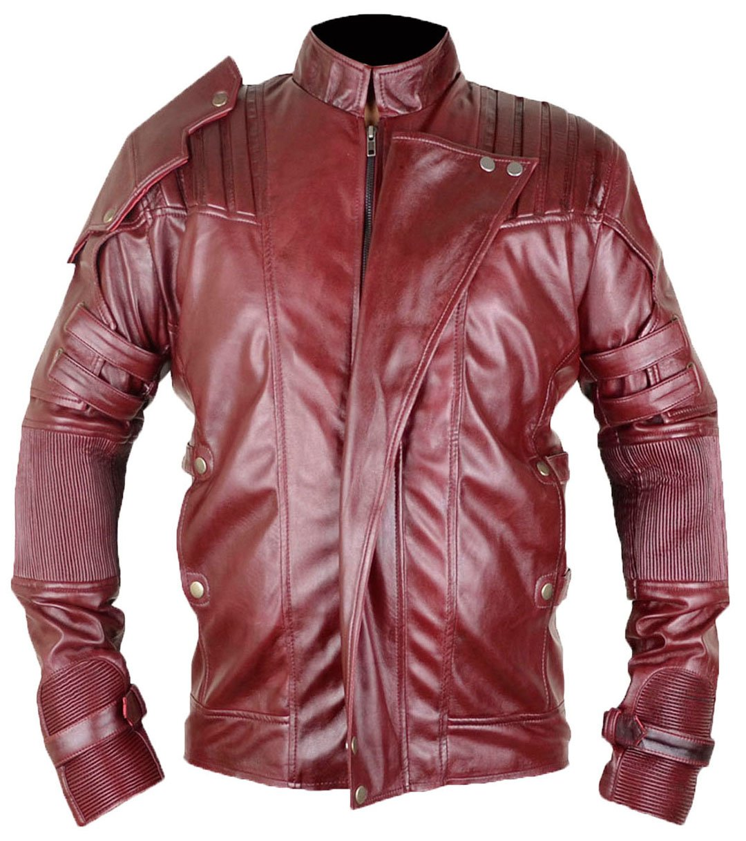 MSHC Guardians of The Galaxy 2 Star Lord Peter Jason quill Faux Leather Jacket Burgundy (Medium)