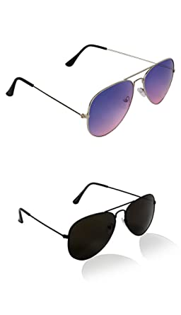 af678f7c07d Image Unavailable. Image not available for. Colour  SHEOMY COMBO OF STYLISH  BLACK AVIATOR AND SILVER BLUE PINK AVIATOR SUNGLASSES WITH 2 ...