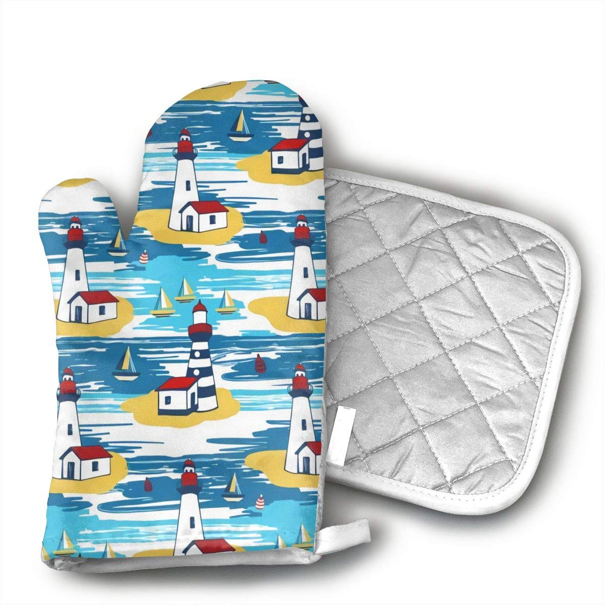 CHFSTi Oven Mitts Colorful Bright Lighthouse Non-Slip Silicone Oven Mitts& Pot Holders, Heat Resistant to 500Fahrenheit Degrees Kitchen Oven Gloves