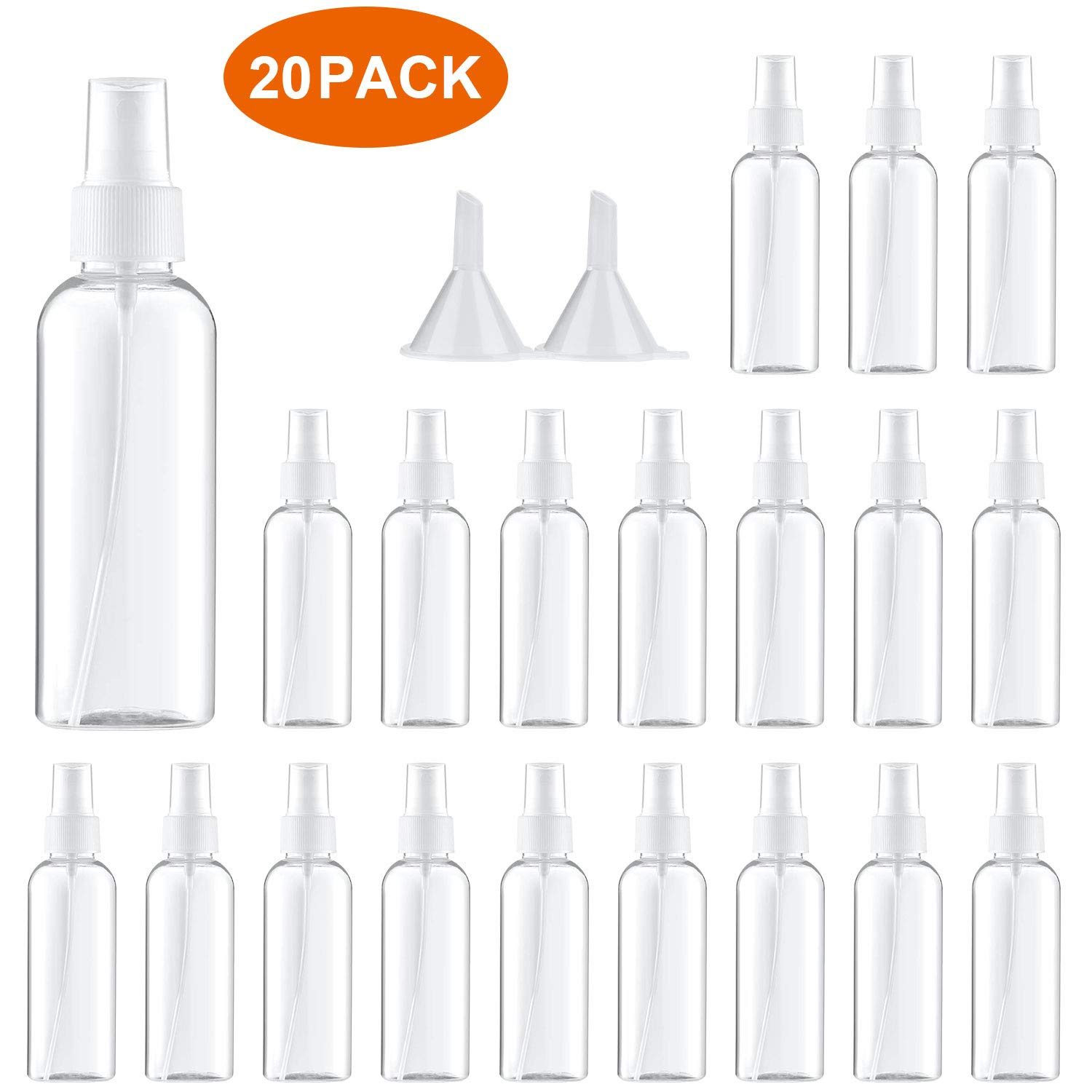 Spray Bottle,Fine Mist Mini Clear 80ml/2.7oz Spray Bottles,Small Reusable Empty Plastic Bottles with Atomizer Pumps (20 pack,2 Funnels included)
