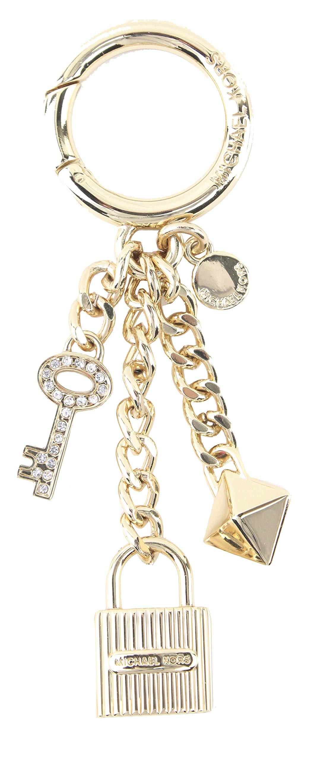 MICHAEL Michael Kors Gold Lock and Pave Key Handbag Charm Key Fob Keychain with Gift Box, Style 35F8SKCK7U