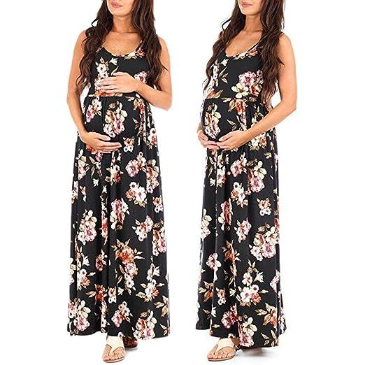 K-youth Vestidos Largos Embarazada Fiesta Vestido de Maternidad Mujer Fiesta Largos Florales Sin Mangas Boda Mujer Embarazada Vestidos Faldas de Maternidad ...