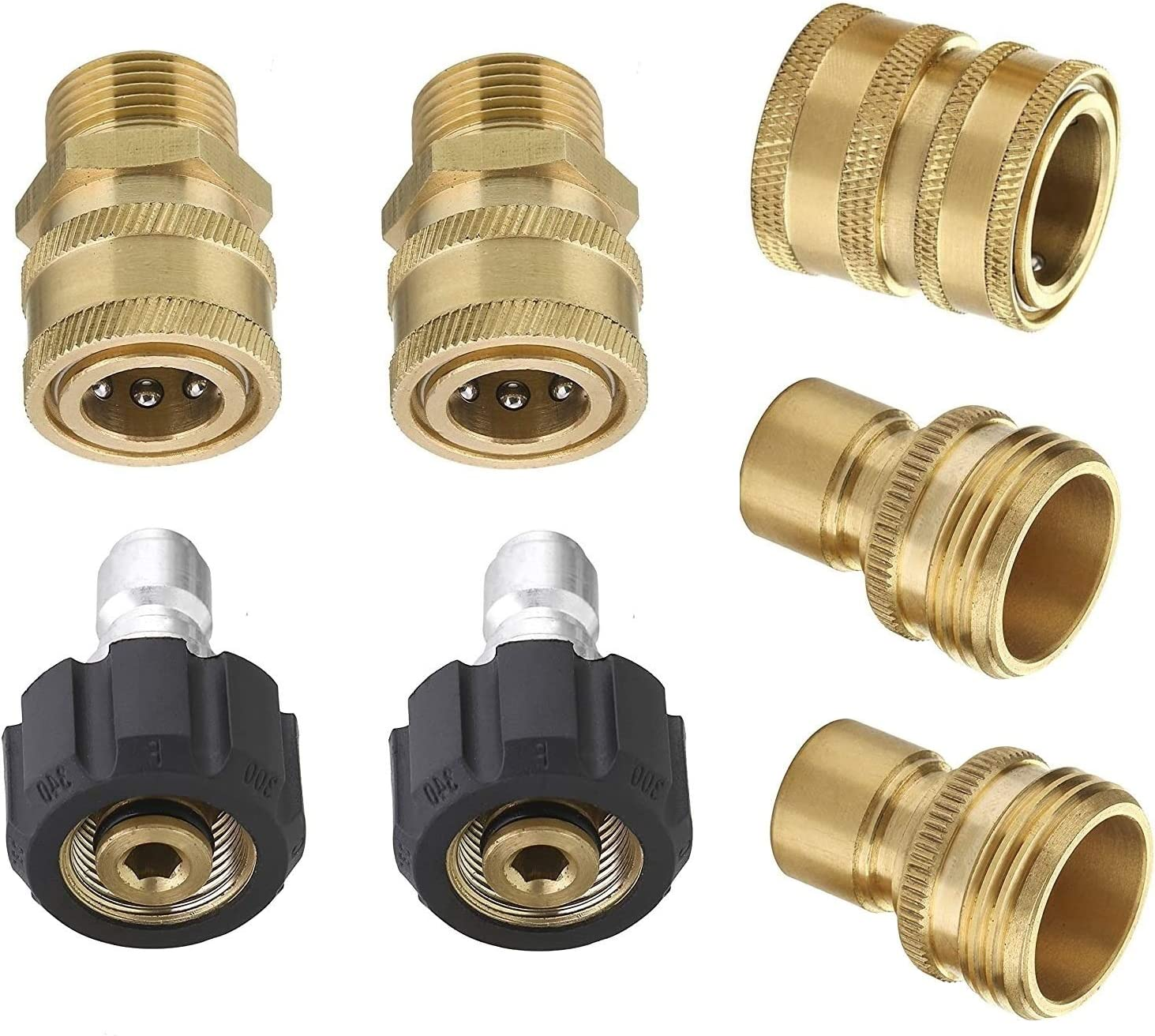 "Vortxx Pressure Washer Brass Quick Connect Adapter Set for Sun Joe SPX Series, M22-15mm to 3/8"" Quick Release, 5000 PSI, Universal Garden Hose"