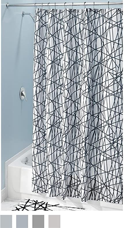 InterDesign Abstract Fabric Shower Curtain, 72u0026quot; X 84u0026quot;, ...