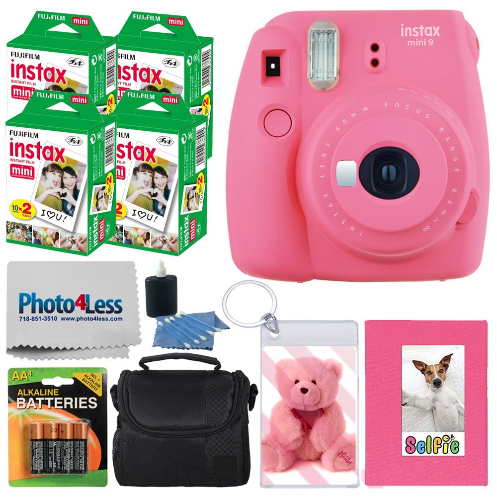 Fujifilm instax mini 9 Instant Film Camera (Flamingo Pink) + Fujifilm Instax Mini Instant Film (80 Shots) + Selfie Album + Compact Case + Photo Keychain + 4 AA Batteries – Valued Accessory Kit