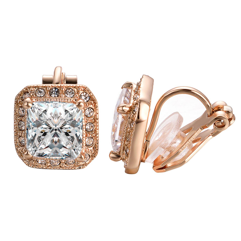 Yoursfs Clip Earrings For Women 18K White Gold Plated Square Shape Clip-on Earrings Cz wedding earrings