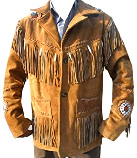 MSHC Western Cowboy Mens Fringed Suede Leather Jacket D13 V1 XXS-5XL Blue
