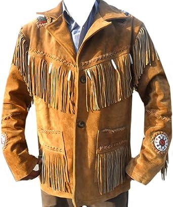 coolhides Mens Cowboy Suede Leather Jacket Fringed /& Beaded