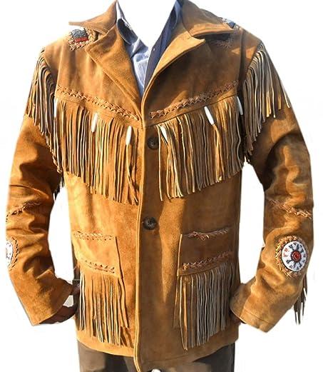 Classyak Western Leather Jacket Men Brown, Suede Leather, Xs-5xl ...