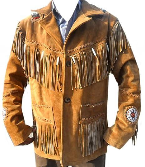 Amazon.com: Coolhides Mens Cowboy Leather Jacket Beads, Fringes and Bones: Clothing