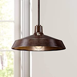 """Warm Bronze Pendant Light 15"""" Wide Farmhouse Industrial Inverted Flat Bowl Shade Fixture for Kitchen Island Dining Room - Franklin Iron Works"""