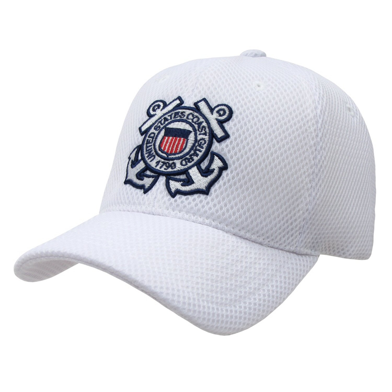 1a06b5a5 Amazon.com: Genuine Air Mesh Military Caps Baseball Hat - Adjustable - US Coast  Guard WHITE -: Clothing