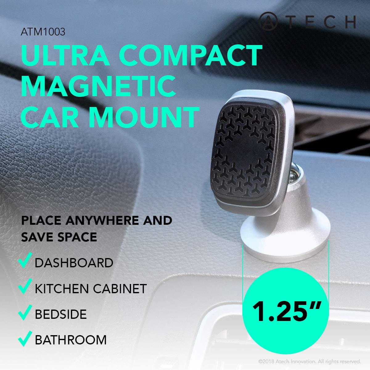 Black ATECH INNOVATION 4351665876 Bedside Bathroom ATECH Magnetic Car Dashboard Mount Kitchen 360 Rotation Universal Adhesive Small-Sized Phone Holder for Car