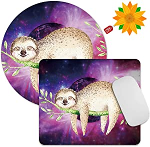 Mouse Pad Animal Sloth Galaxy 2 Pack Computer Mousepad Non-Slip Rubber Rectangle Round Mouse Pads Office Accessories Desk Decor Mouse Mat for Wireless Mouse Laptop + Sunflower Stickers