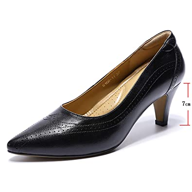 Mona Flying Womens Leather Pumps Dress Shoes High Heels Med Heel Pointed Toe For Other Women's Intimates