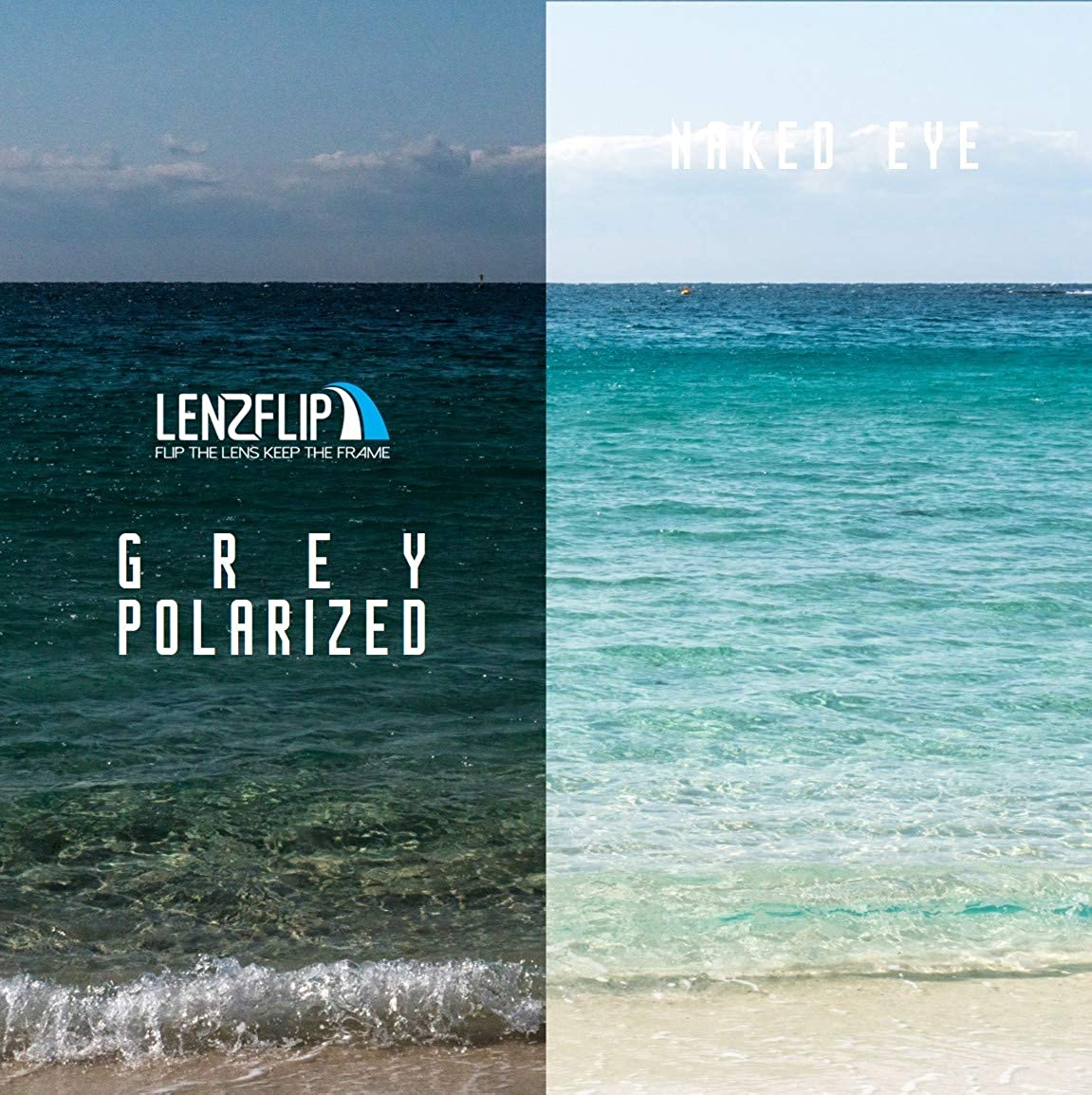 e4513b58cc0ba LenzFlip Replacement Lenses Compatible with Costa del Mar HARPOON -  Gray Black  Amazon.ca  Clothing   Accessories
