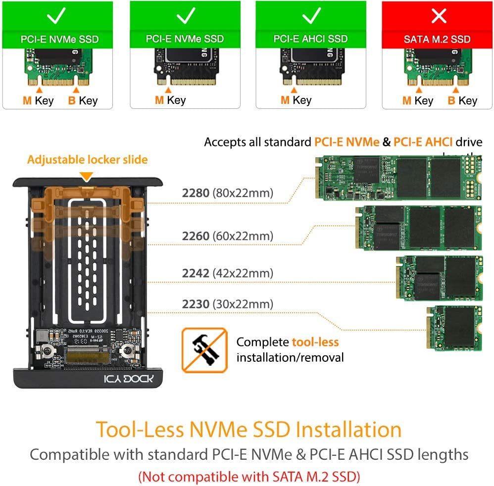SFF-8639 EZConvert MB705M2P-B ICY DOCK PCIe SSD Converter Adapter M.2 PCIe NVMe SSD to 2.5 U.2 Tool-Less