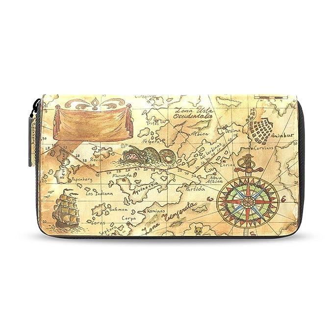 Womens Wallets World Map Compass Passport Leather Clutch Purse
