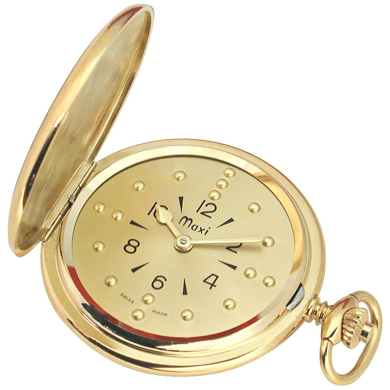 Mens Gold-Tone Quartz Pocket Braille Watch by MaxiAids