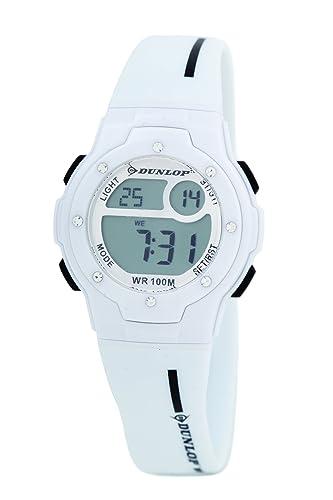 Dunlop DUN-153-L11 - Reloj digital de mujer de cuarzo con correa de plástico blanca: Amazon.es: Relojes