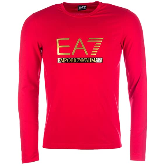 993e090a Emporio Armani Mens EA7 Mens Long Sleeve Jersey T-Shirt in Red - 2XL ...