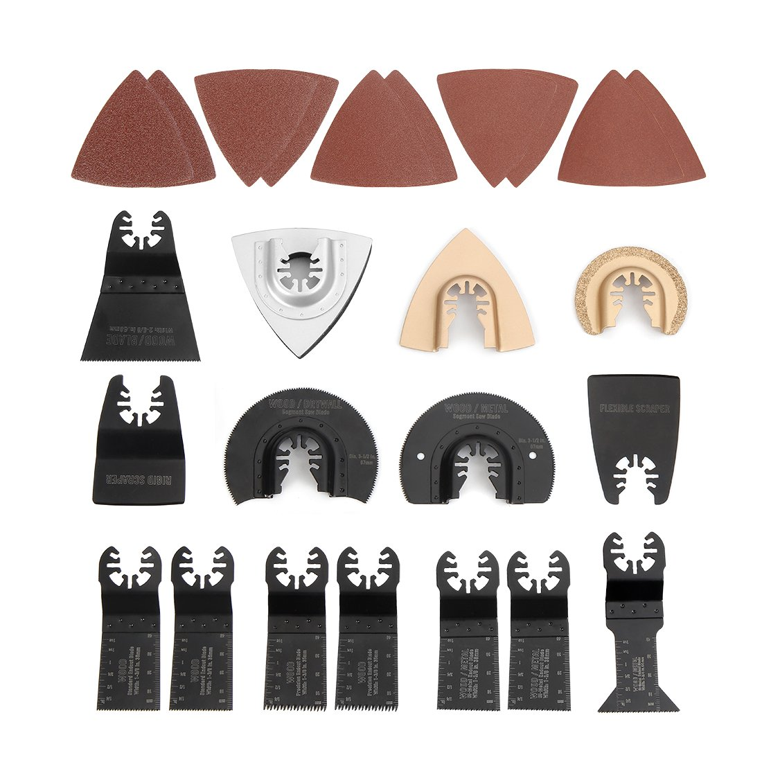 WORKPRO 25-piece Oscillating Multitool Accessories Saw Blades Quick Release Kit Packed by Cardboard Box