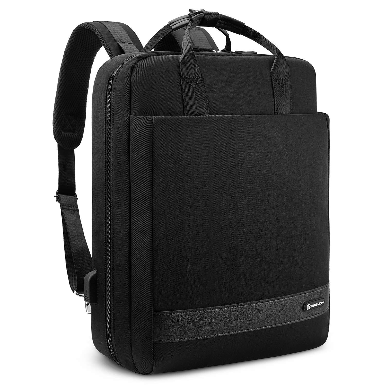 BRINCH Convertible Laptop Backpack 15.6 Inch Multi-Functional Travel Rucksack Shoulder Briefcase Handbag Water Resistant Knapsack w USB Charging Port Business College Backpack for Men Women, Black