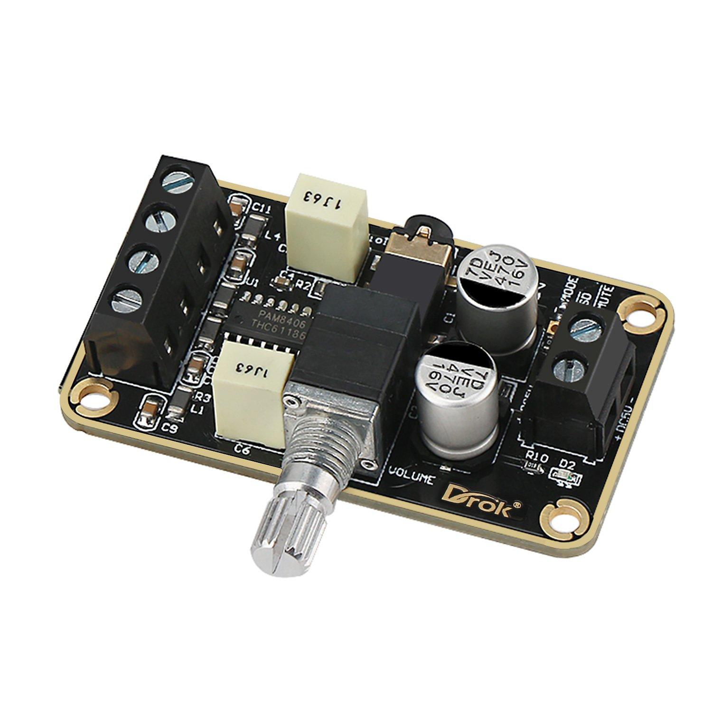 Audio Amplifier Board, DROK PAM8406 Digital Power Amplifier Board 5W+5W Stereo Amp 2.0 Dual Channel Class D DC5V Amplify DIY Module for Speaker
