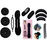 Homeoculture Combo Of 7 Hair Accessories - 3 Donuts 1 Magic Puff 1 Volumizer 1 Banana Bumpit 1 Tictac Puff