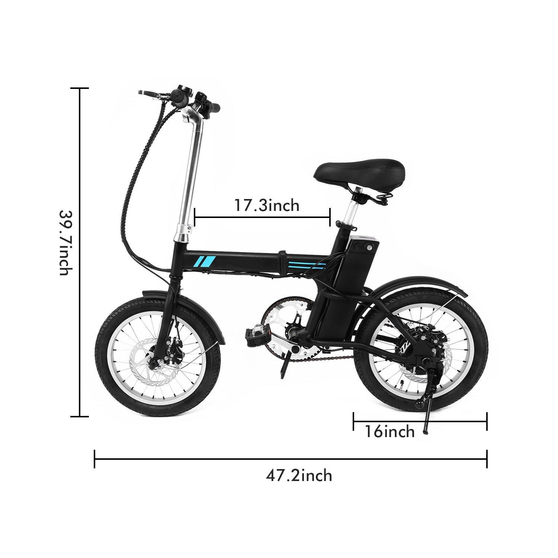 AIMADO Mini Bicicletas Electricas de Montaña Plegable 250W 15MPH Pantalla LED Ruedas de 16 Pulgadas, E-bike MTB Batería 36V 6Ah 2 Modos de Asistencia, ...