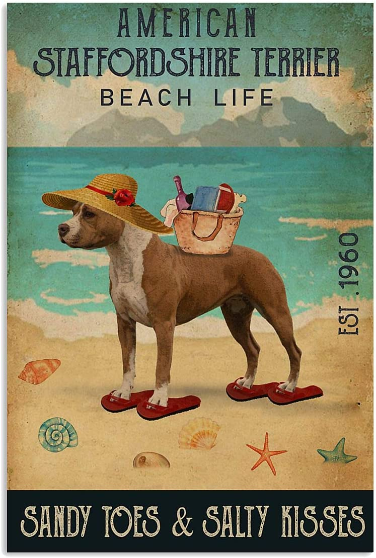Vintage Beach Life Sandy Toes & Salty Kisses American Staffordshire Terrier Poster Wall Art Print Decor Office Bedroom Living Room 16x24 Inches