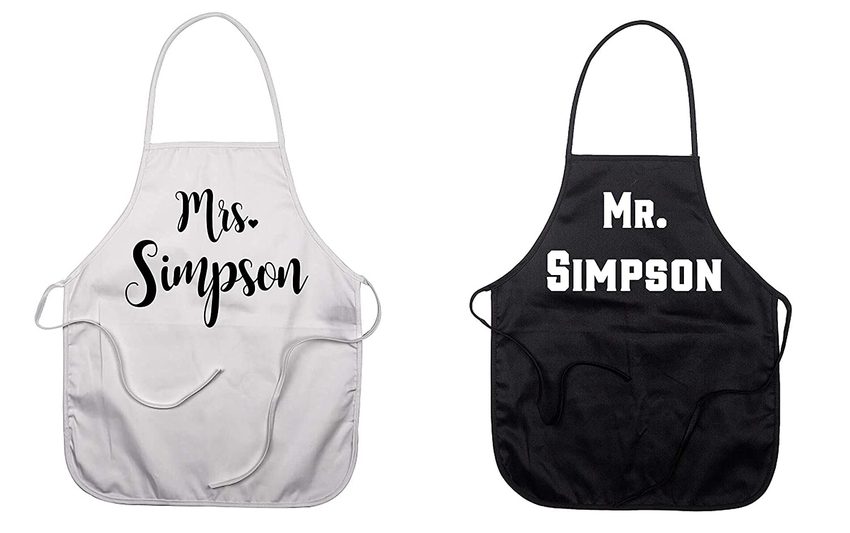 Personalized Kitchen Apron Mrs Wedding Gift Idea Bridal Shower Gift Kitchen Decor,Cooking Essentials Apron