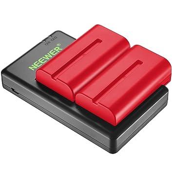 Neewer 2 Piezas 2600mAh Sony NPF550/570/530 Reemplazo de Batería de Iones de Litio (Rojo) con Cargador Doble para Sony HandyCams, Neewer LED de Luz, ...