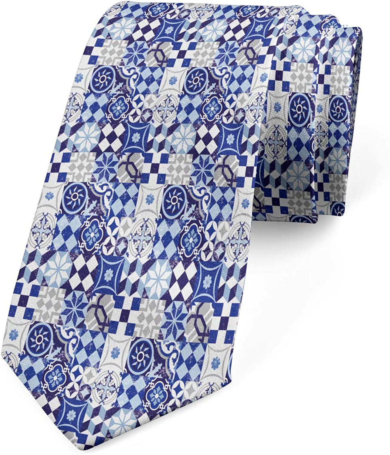 Traditional Vintage Mosaic 3.7 Ambesonne Necktie Blue Navy Blue White
