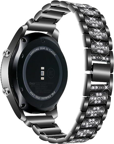 Nigaee Correa Gear S3 Correas Samsung Gear S3 Frontier For Samsung Gear S3 Frontier Correa Samsung Gear S3 Classic Gear 2 R380 R381 R382, Moto 360 2 46mm Smartwatch Zuans Black: Amazon.es: