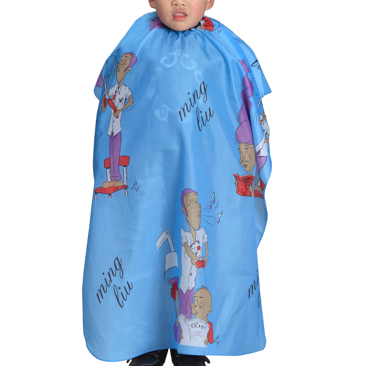 Colorfulife Child Hair Cutting Waterproof Cape Barber Kids Hair Styling Cloth with Snap Closure Professional Home Salon Hairdressing Wrap Cartoon Men Pattern (Blue) beautifulove