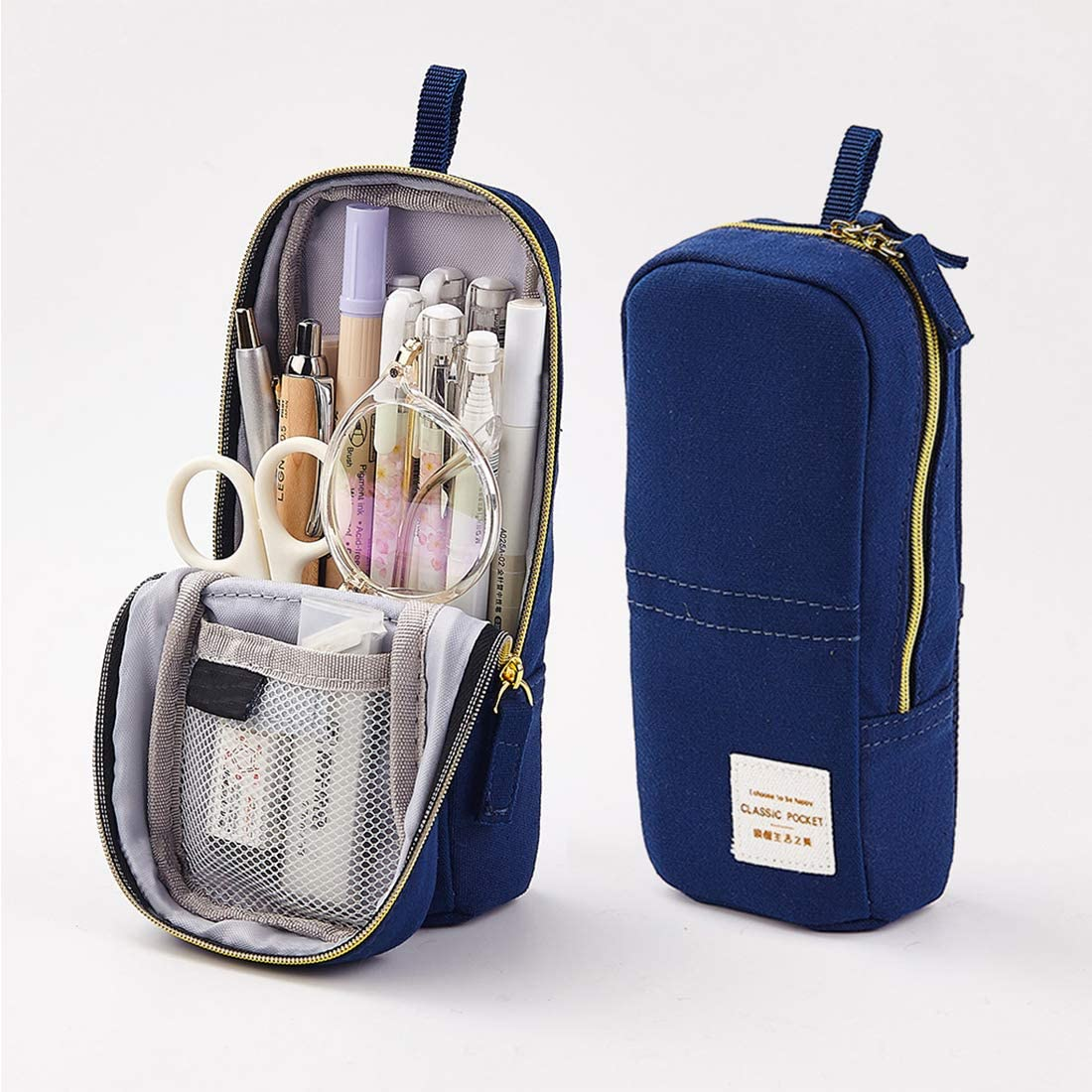 Oyachic Pencil Case Transform Stand Up Pen Phone Holder Zipper Pen Pouch Large Capacity Stationery Box Canvas Cosmetic Bag Office School Supplies (Dark Blue)